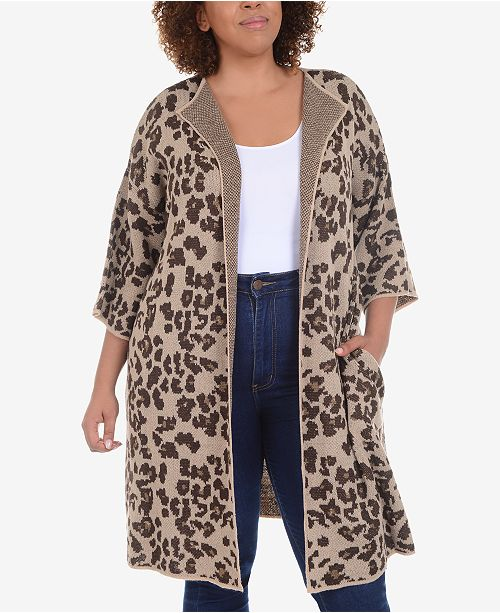 2c6ffdd1db NY Collection Plus Size Long Animal-Print Jacquard Knit Cardigan ...