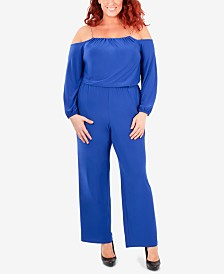 NY Collection Plus Size Off-The-Shoulder Chain Jumpsuit