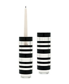 Sliced Tuxedo Crystal Candleholder - Small. Set Of 2