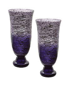 Set Of 2 Plum Ombre Flared Vases