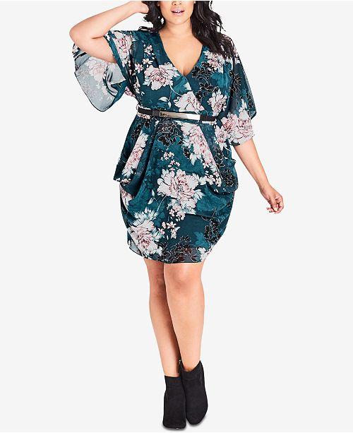 City Chic Trendy Plus Size Draped Faux-Wrap Dress - Dresses ...