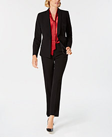 Kasper Striped Shawl-Collar Jacket, Tie-Neck Shell & Straight-Leg Pants