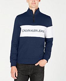 Calvin Klein Jeans Men's Quarter-Zip Logo Sweatshirt