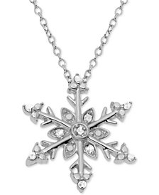 "Diamond Snowflake 18"" Pendant Necklace (1/10 ct. t.w.) in Sterling Silver"
