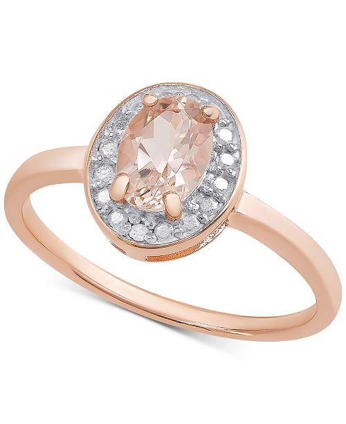 Macy S Morganite 5 8 Ct T W Diamond Accent Ring In 18k Rose