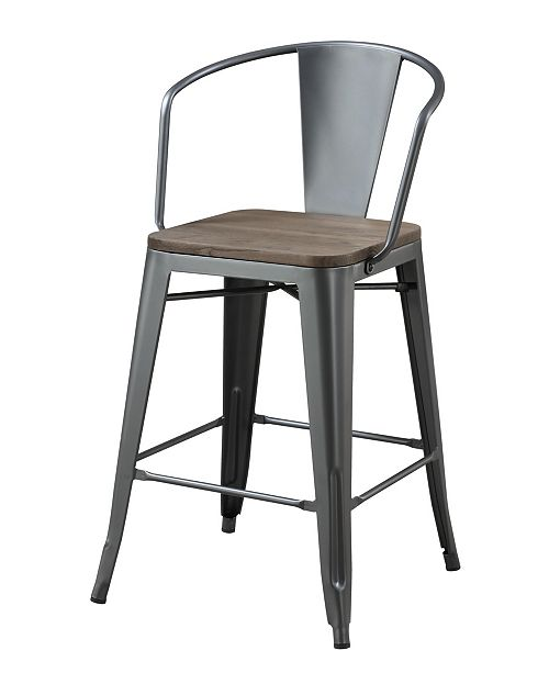 Furniture of America Letron Gray Counter Stool (Set of 4)