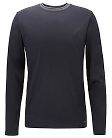 BOSS Men's Contrast-Neck Cotton Long-Sleeve T-Shirt