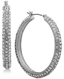 """DKNY Micro-Pavé 1 2/3"""" Hoop Earrings, Created for Macy's"""