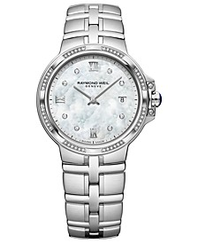 Women's Swiss Parsifal Diamond-Accent Stainless Steel Bracelet Watch 30mm
