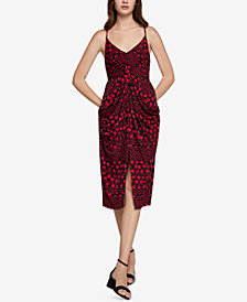 BCBGeneration Printed Knot-Front Drapey-Pocket Dress