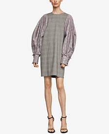 BCBGMAXAZRIA Balloon-Sleeve Houndstooth Dress