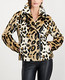 INC Leopard-Print Faux-Fur Coat, Created for Macy's