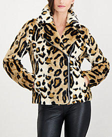 I.N.C. Petite Faux-Fur Moto Jacket, Created for Macy's