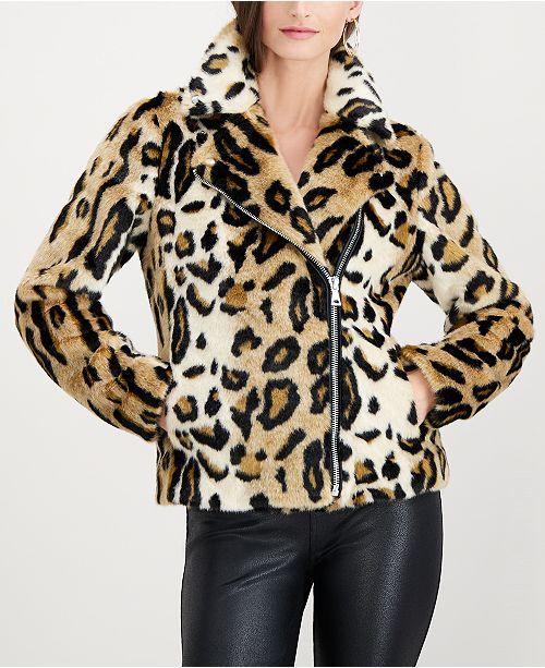 INC International Concepts I.N.C. Leopard-Print Faux-Fur Coat, Created for Macy's
