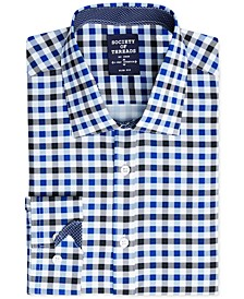 Men's Slim-Fit Performance Stretch Gingham Dress Shirt