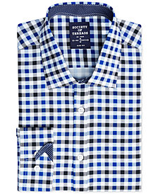 Society of Threads Men's Slim-Fit 4-Way Stretch Gingham Dress Shirt