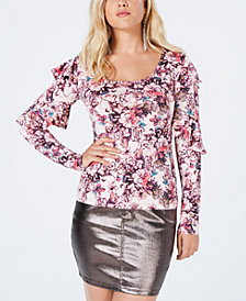GUESS Bianka Long Sleeve Ruffle Top