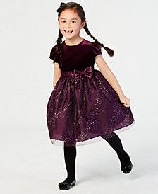 Jayne Copeland Little Girls Velvet Glitter Mesh Dress