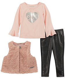 Calvin Klein Baby Girls 3-Pc. Faux Fur Vest, Top & Faux Leather Leggings Set