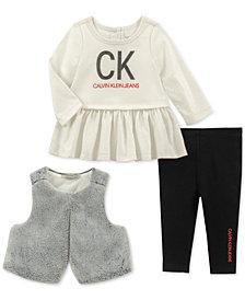 Calvin Klein Baby Girls 3-Pc. Faux-Fur Vest, Peplum Top & Leggings Set