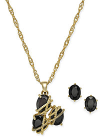Charter Club Gold-Tone Crystal Three-Stone Wrap Necklace and Earrings Set, Created for Macy's