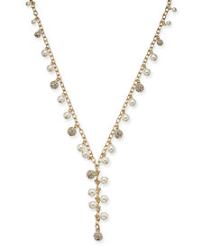 "Charter Club Gold-Tone Pavé Bead & Imitation Pearl Lariat Necklace, 36"" + 2"" extender, Created for Macy's"