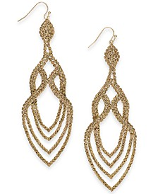 Thalia Sodi Gold-Tone Crystal Point Drop Earrings, Created for Macy's