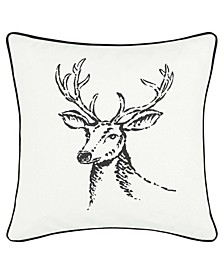 Winter Morning Stag Black Square Pillow