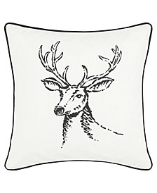 Eddie Bauer Winter Morning Stag Black Square Pillow