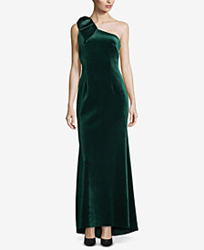 Betsy & Adam Bow One-Shoulder Velvet Gown