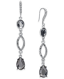 I.N.C. Silver-Tone Hematite & Black Crystal 3-Drop Earrings, Created for Macy's