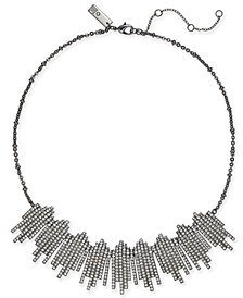 "I.N.C. Hematite-Tone Crystal Bar Fringe Collar Necklace, 16"" + 3"" extender, Created for Macy's"