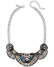 "I.N.C. Silver-Tone Iridescent Bead Statement Necklace, 16"" + 3"" extender, Created for Macy's"