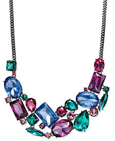 "I.N.C. Hematite-Tone Multicolor Crystal Statement Necklace, 18' + 3"" extender, Created for Macy's"