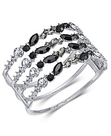 I.N.C. Silver-Tone Black Crystal Cuff Bracelet, Created for Macy's