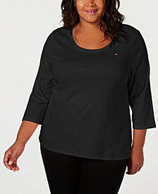 Tommy Hilfiger Plus Size Cotton Top, Created for Macy's
