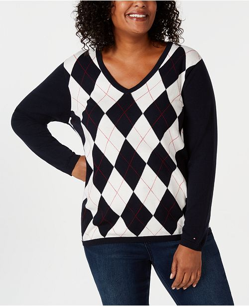 Tommy Hilfiger Plus Size Ivy Argyle Sweater Created For Macys