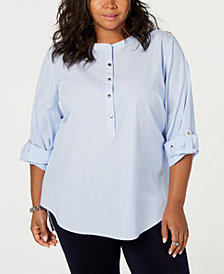 Tommy Hilfiger Plus Size Roll-Tab Tunic, Created for Macy's