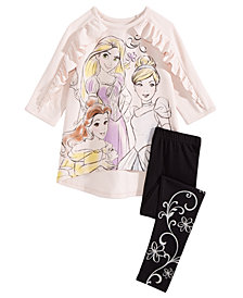 Disney Little Girls 2-Pc. Princesses Top & Leggings Set