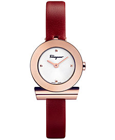 Ferragamo Women's Swiss Gancino Burgundy Leather Strap Watch 22mm