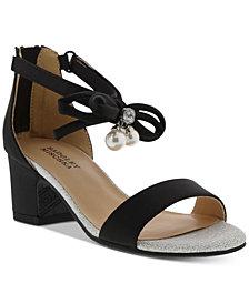 Badly Mischka Little & Big Girls Pernia Faux Pearl Bow Sandals