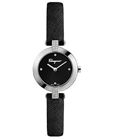 Ferragamo Women's Swiss Miniature Diamond (1/10 ct. t.w.) Black Saffiano Leather Strap Watch 26mm