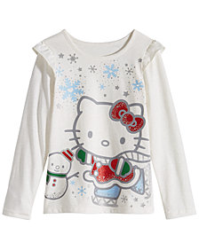 Hello Kitty Little Girls Graphic-Print Ruffled T-Shirt