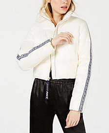 Juicy Couture Repeat Logo Zip Cropped Puffer Jacket
