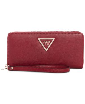 Lauri Boxed Zip-Around Wristlet, Red/Gold