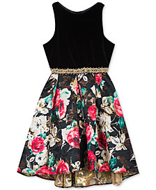 Rare Editions Big Girls Velvet Jacquard Dress
