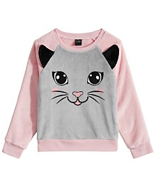 Awake Toddler Girls Cat-Print Faux-Fur Sweater