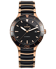 Rado Men's Swiss Automatic Centrix Rose Gold-Tone PVD Stainless Steel and Black High-Tech Ceramic Bracelet Watch 42mm