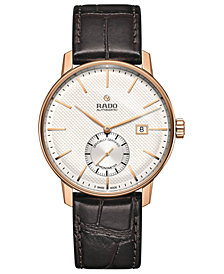 Rado Unisex Swiss Automatic Chronometer Coupole Classic Brown Leather Strap Watch 41mm