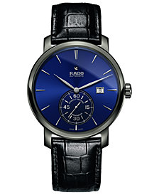 Rado Men's Swiss Automatic Chronometer DiaMaster Black Leather Strap Watch 43mm